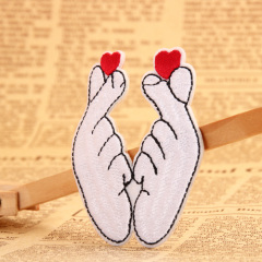 Finger Heart Embroidered Patches