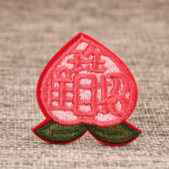 Peach Embroidered Patches