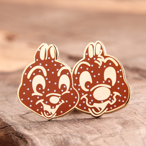 Double rabbit custom enamel pins