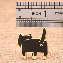 The back of cat enamel pins