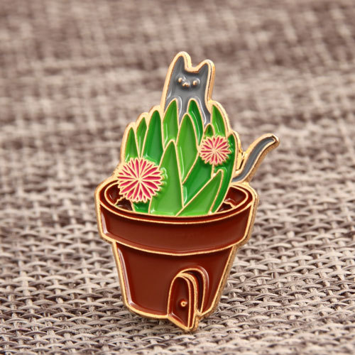 Cactus with Cat Lapel Pins