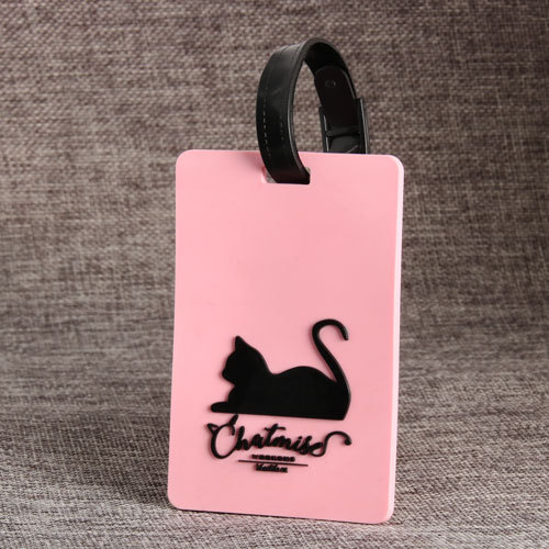 Cat Pink PVC Luggage Tag