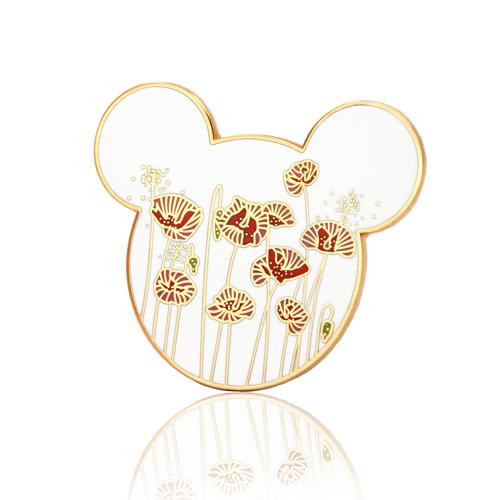 Hidden Mickey Poppy Flower Pins
