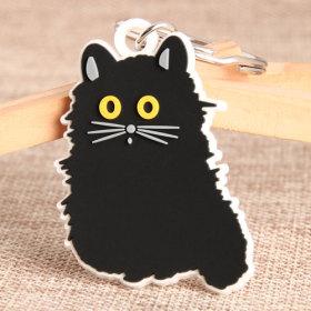 Black Cat PVC Keychain