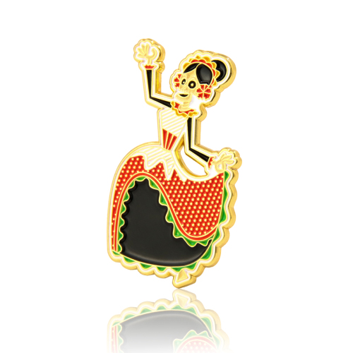 Calavera Dancer Skull Enamel Pins