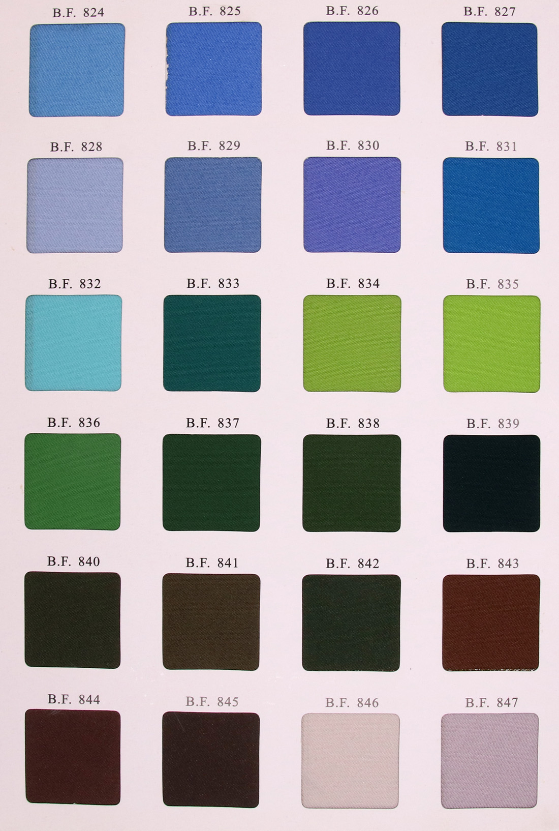 Cloth color swatches
