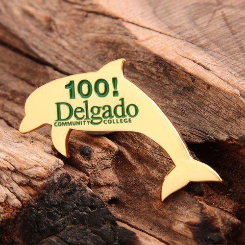 Golden Dolphin Enamel Pins