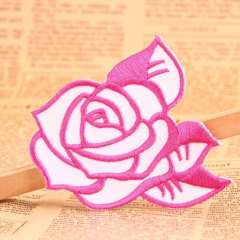 Pink Rose Custom Embroidered Patches
