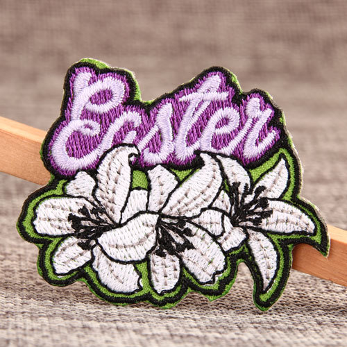 Greenish Lily Flower Embroidered Patches