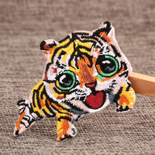 Smiling Tiger Custom Embroidered Patches