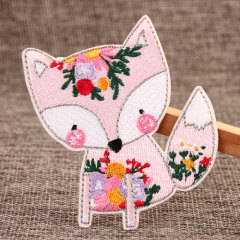 Pink Fox Embroidered Patches