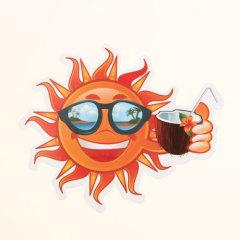Sun On Vacation Custom Stickers