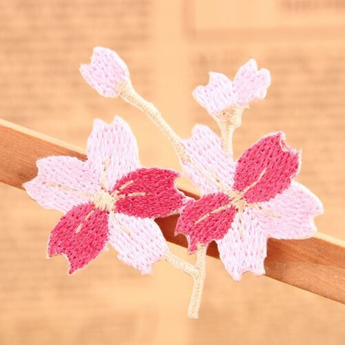 A Spray Of Pink Flower Embroidered Patches