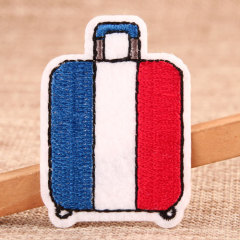 Red And Blue Suitcase Custom Iron On Patches