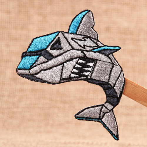 Savage Shark Iron On Embroidered Patches