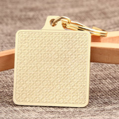 Golden Square Blank Custom Keychains