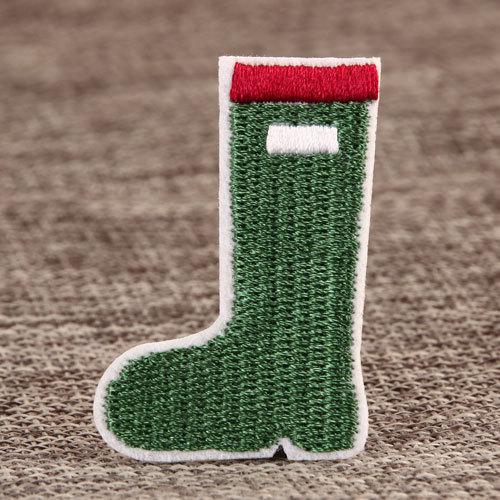 Green Boot Cheap Custom Embroidered Patches