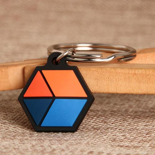 Hexagon PVC Keychain