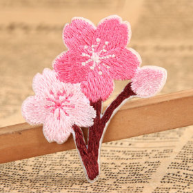 Pink Flower Embroidered Patches