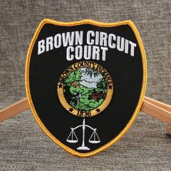 Brown Circuit Court Embroidered Patches